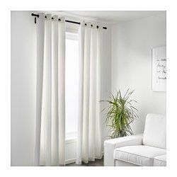 "IKEA - MERETE, Curtains, 1 pair, 57x98 "", , The thick curtains darken the room and provide privacy by preventing people outside from seeing into the room.The eyelet heading allows you to hang the curtains directly on a curtain rod.Effective at keeping out both drafts in the winter and heat in the summer."