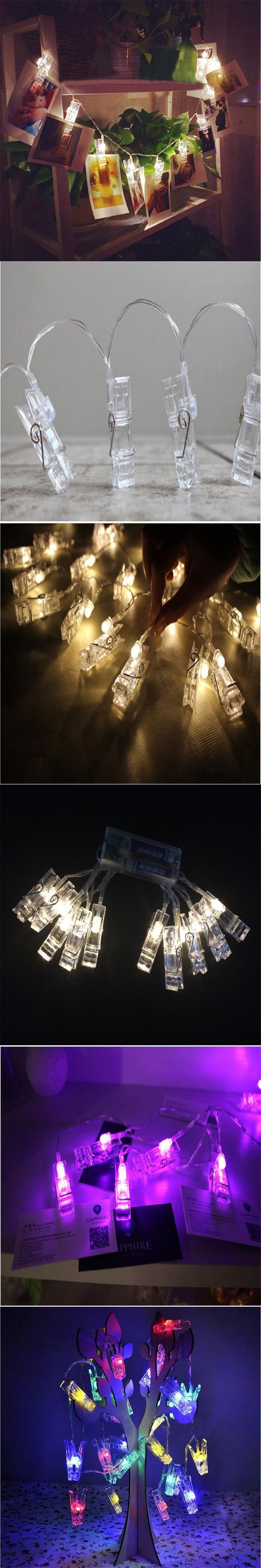 Hot  1.5M Mini 10 led clip string lights battery Christmas lights new year party wedding home decoration fairy lights battery