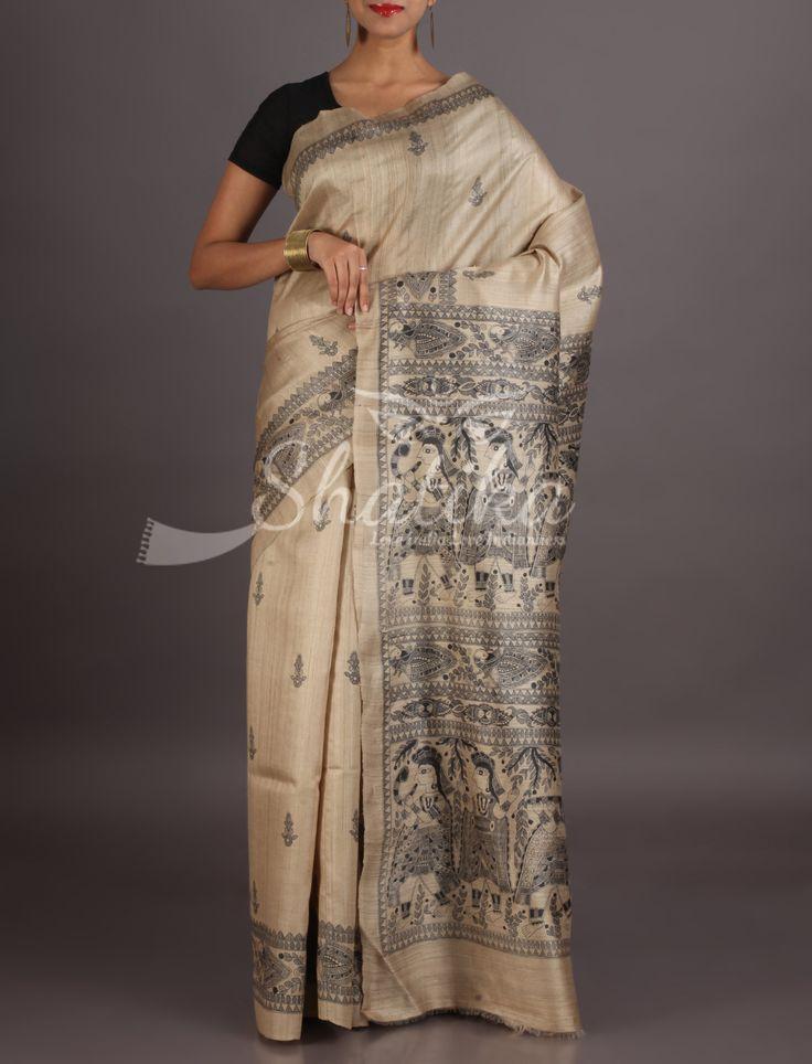 Neera Cream With Black Intricate Painting On Border Madhubani Silk Saree