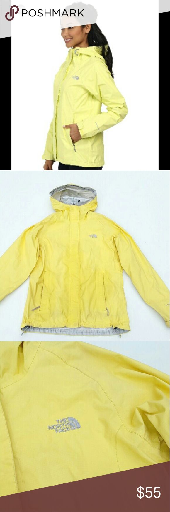 The North Face yellow windbreaker S The North Face yellow rain coat / windbreaker jacket. Size small. In great condition! :) no stains, fading, or rips anywhere. The darker yellow parts I just wiped it with a wet cloth from dust. Its not stains. The North Face Jackets & Coats