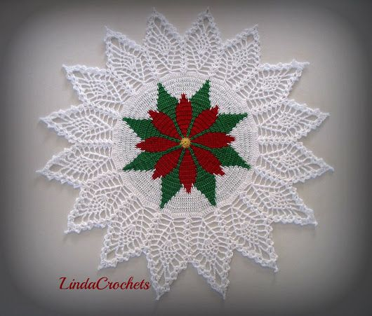 "Linda Crochets: I present to you the ""Poinsettia Tapestry Doily"""