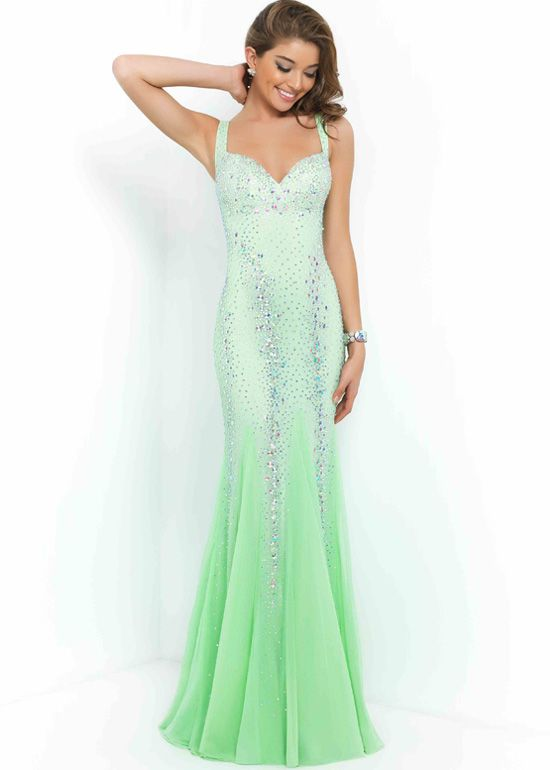 2015 Honeydew Straps Beaded Open Back Long Fitted Prom Dress