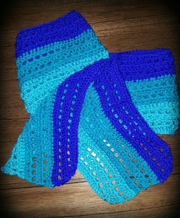 Shades of blue,  Crochet scarf