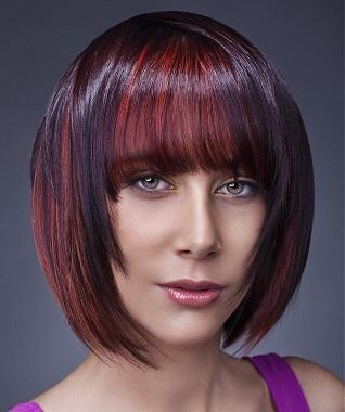 A medium brown straight coloured multi-tonal reds bob choppy hairstyle by The Art of Hair