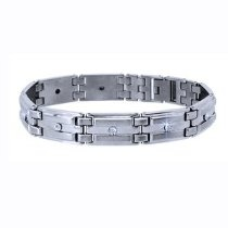 10k White Gold & Stainless Steel Diamond Men's Bracelet, 8.5 Inches x 1/2 Inch (0.10 ctw, SI-GH)