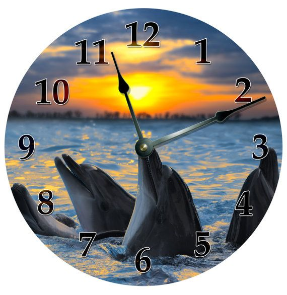 """SINGING DOLPHINS CLOCK Extra Large 15.5"""" to 16"""" Wall Clock - 2101-16"""
