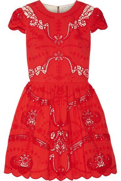 Alice Olivia - Karen Broderie Anglaise Cotton Mini Dress - Red