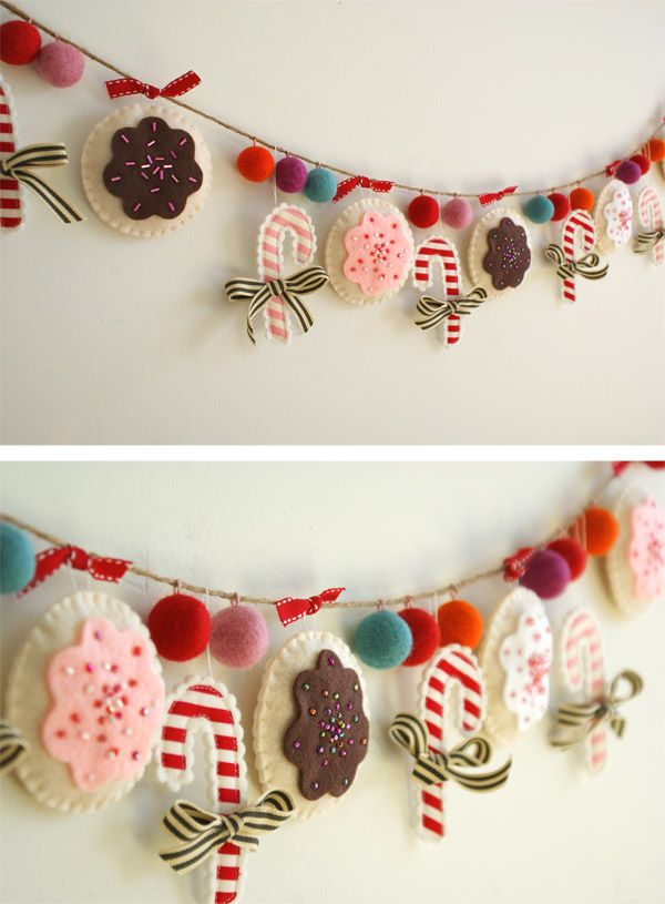 authentic sneakers online A sweet  DIY Christmas garland using felt  pom poms and ribbon