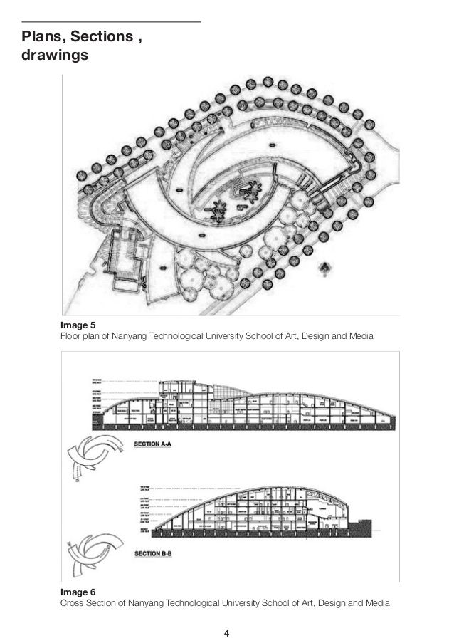 Plans, Sections , drawings Image 5 Floor plan of Nanyang Technological University School of Art, Design and Media Image 6 ...