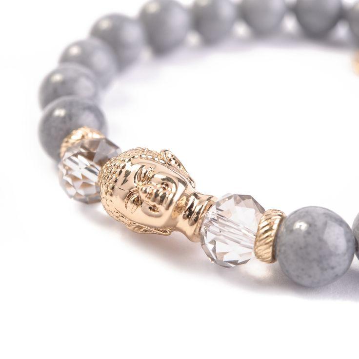 Bransoletka Szary Spokój wykonana z szarych kamieni półszlachetnych (jadeitów), kryształków Swarovski Elements i elementów pozłacanych 24-karatowym złotem