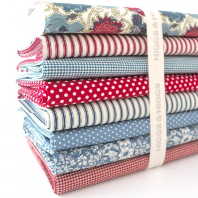 FQ BUNDLE - DENIM BLUE & RED 100% COTTON FABRIC Liberty of London Lucy Rose