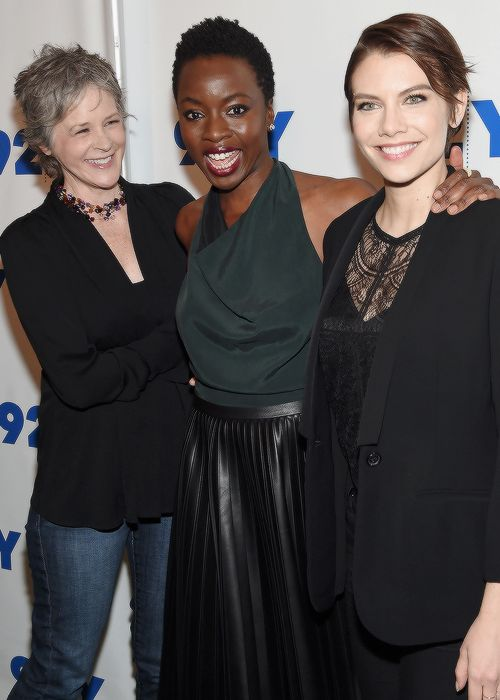 Melissa McBride, Danai Gurira and Lauren Cohan at The Walking Dead: Screening and Conversation in New York City on February 8, 2016