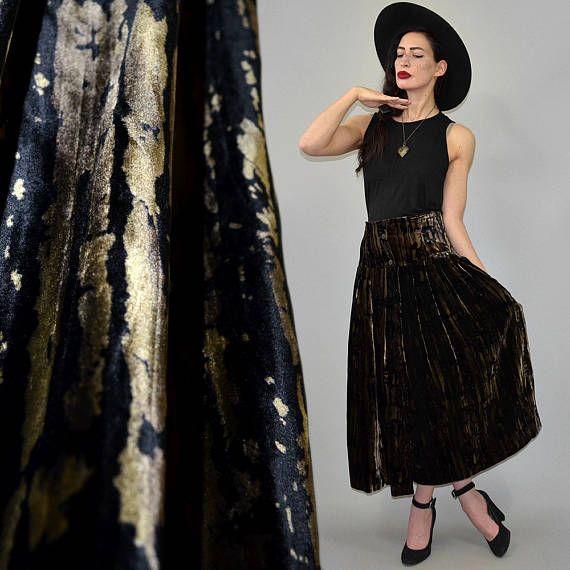 Cintura alta Vintage camuflaje pesado terciopelo cortina falda Swing vestido brocado iridiscente Vestido fiesta Swing pesados Circular M