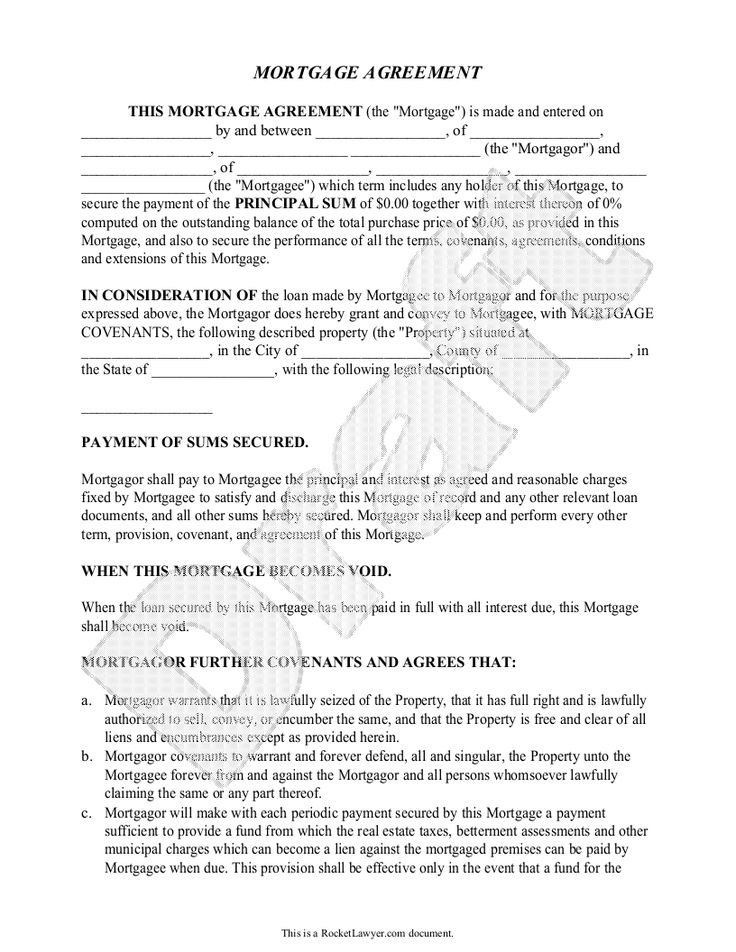 Mortgage Agreement Form Mortgage Bond How To Pay Off Your House