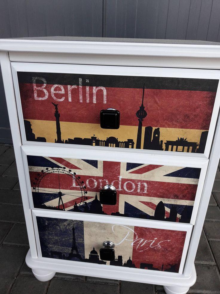 Nachttisch Nachtkonsole Modern Weiß London Paris von dieideenschmiede01 auf Etsy