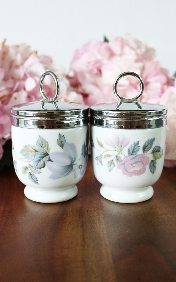 Pair of vintage egg coddlers by Royal Worchester made in England, June Garland pattern c. 1940s - 1956