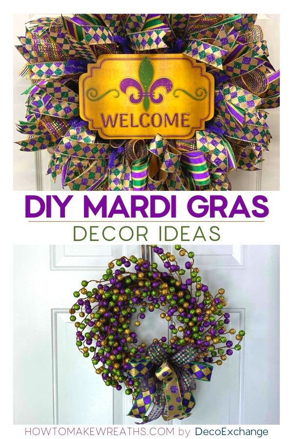 Diy Mardi Gras Decor Ideas In 2020 Mardi Gras Decorations How To Make Wreaths Mardi Gras Wreath