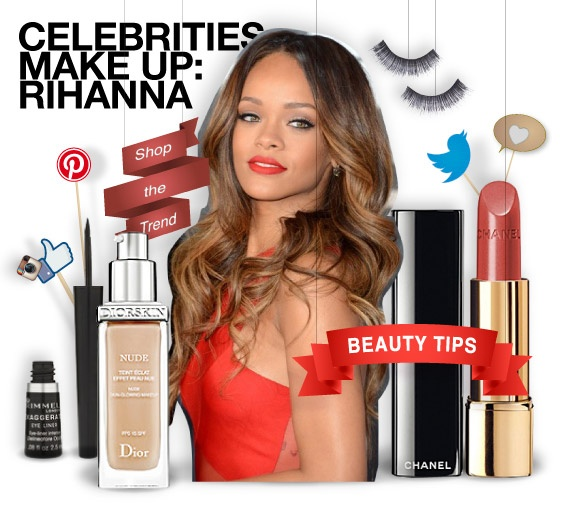 RIHANNA - beauty tips - shopthemagazine.com #rihanna #celebrities #makeup #red #redcarpet #grammy