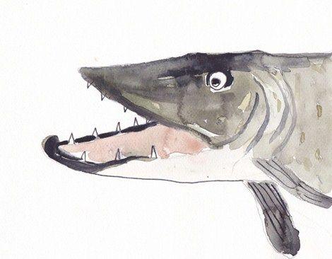 Gädda ur barnboken Fiskeäventyret.