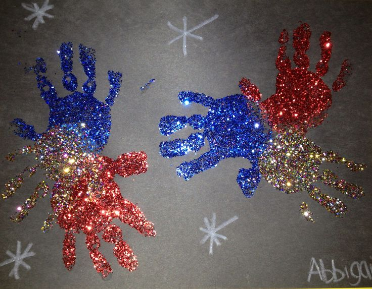 Handprint glitter fireworks! 2 year old art. Fourth of July preschool projects!