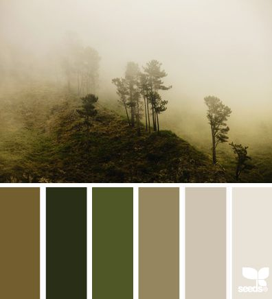 Misty Palette -- a soothing color scheme for when you want your nature tones to be subtle, yet all-encompassing. | design-seeds.com: Misty Palettes, Seeds Colors Schemes, Design Seeds, Natural Paintings Colors, Natural Colors Schemes, Master Bedrooms, Colors Palettes Natural, Pallets Projects, Natural Colors Palettes