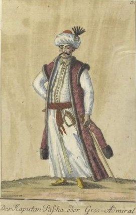 The Kaputan Pasha, or High-Admiral. Vorstellung der vorzuglichsten Gattungen des Türckischen Militairs und ihrer Officiere (Presentation of the genres of Turkish military men and their officers). Dated 1805