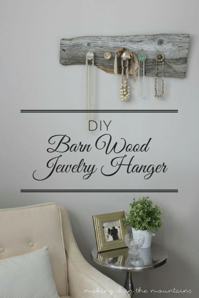If you're on the hunt for the perfect way to organize and display your jewelry (or about a zillion other things really!), then this one's for you!  This DIY Barn Wood Jewelry Hanger is so easy to make and really is such a perfect way to display your beautiful jewelry!