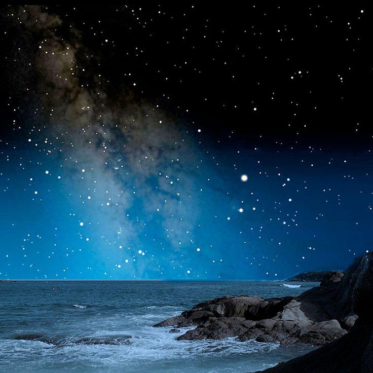 in deze afbeelding is een licht donker contrast te zien. je ziet hier een kust bij nacht (donker) wat verlicht wordt door een hemel vol met sterren die licht geven.doordat de sterren over de hele afbeelding verspreid zijn wordt dit contrast nog beter versterkt.