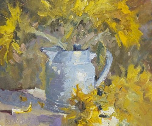 Blue Vase and Sunflowers