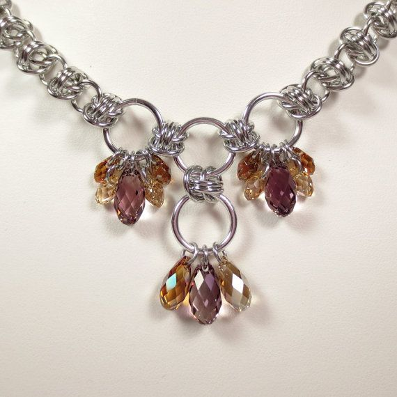 Barrels of Briolettes Chain Mail Necklace Swarovski Crystal Briolette Barrel W eave Chainmaille Jewelry via Etsy