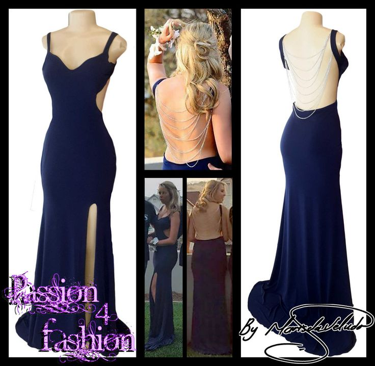 Navy blue sexy soft mermaid matric dance dress with a low open back, sweetheart neckline, side tummy opening with a train. Silver hanging chains for back detail.. Sexy navy blue evening dress