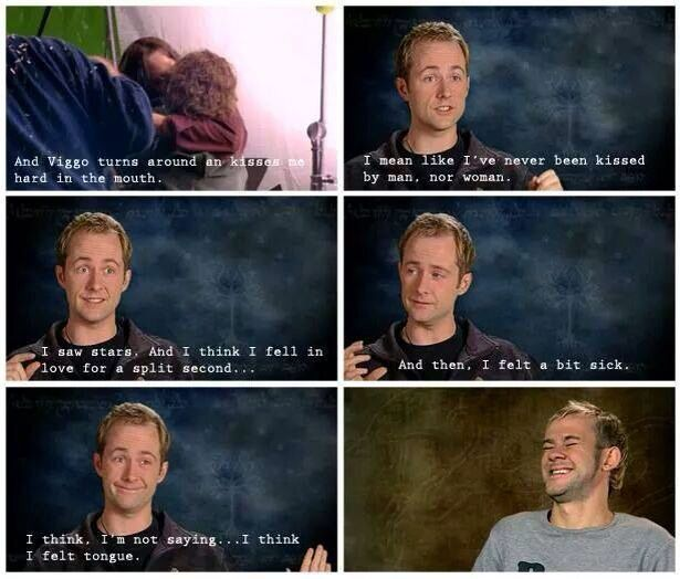 Billy Boyd (Pippin) describes what it was like when Viggo Mortensen (Aragorn) kissed him by surprise. lol Dominic's reaction is priceless! XD
