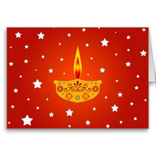 Indian festival decorated lamp greeting card