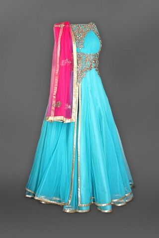Featuring this Beautiful teal blue anarkali with pink dupatta in our wide range of Suits. Grab yourself one Now!