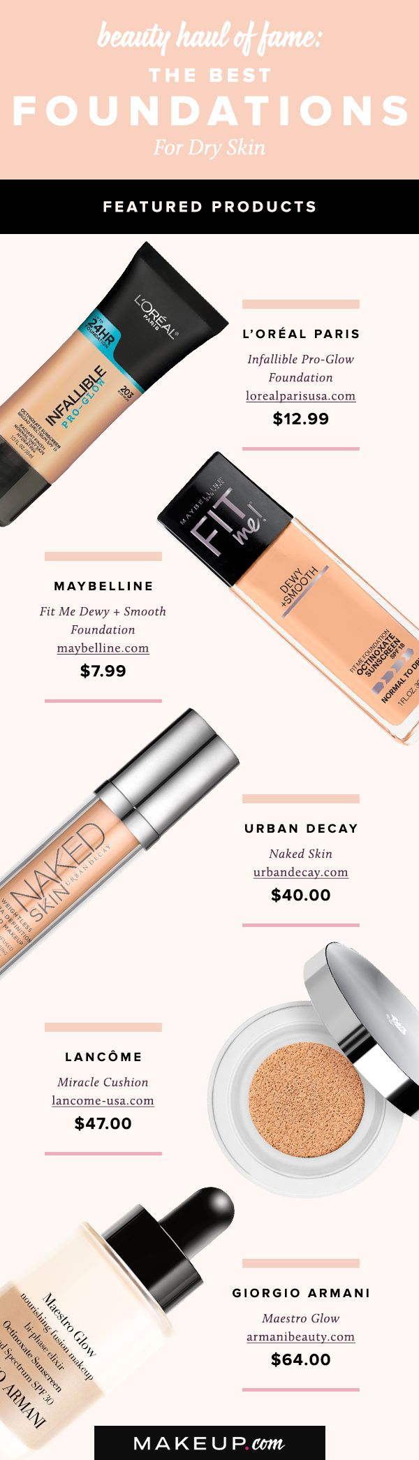 Say goodbye to makeup that is flaky and cakey with these moisture-packed foundations, specially formulated for dry skin.