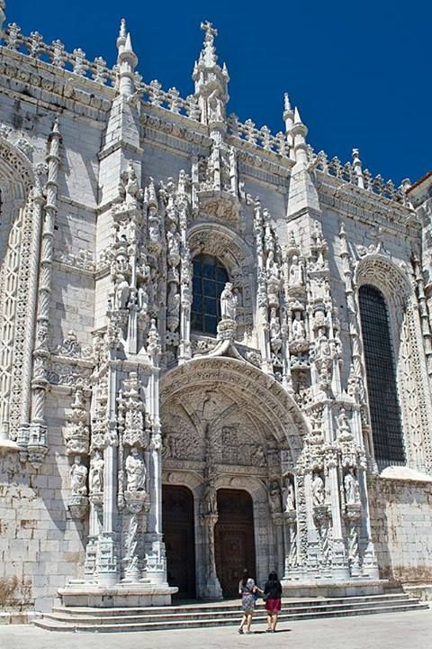 Mosteiro dos Jeronimos and its main door pointing to south, to the Atlantic, revealing the direction of the portuguese Discoveries (XV/XVI century) Lisbon #Portugal