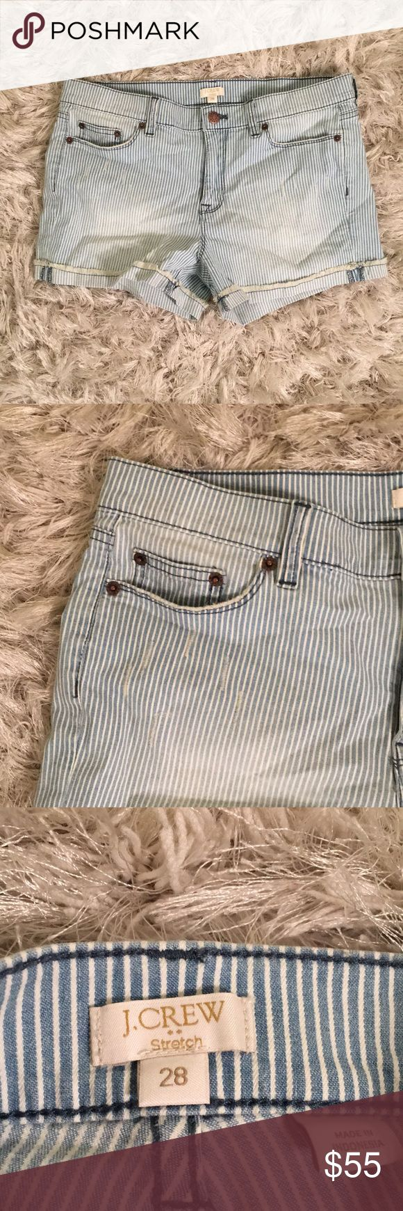 NWT JCrew pinstripe stretch jean shorts 😍 Brand new with tags, pinstripe stretch jean shorts .. so cute & comfortable! Slightly distressed throughout - make me an offer! J. Crew Shorts Jean Shorts
