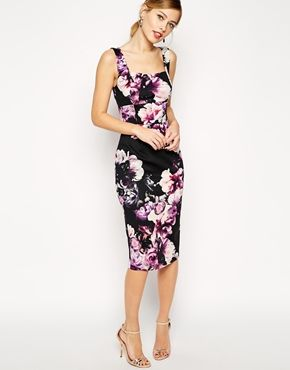 Enlarge ASOS Purple Floral Debutante Bodycon Dress: