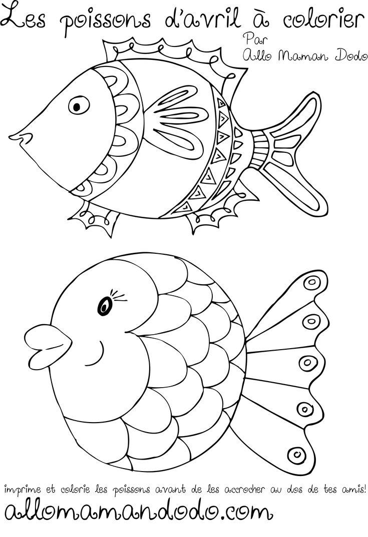 Des poissons imprimer colorier et accrocher poisson d 39 avril pinterest mandalas - Madala a imprimer ...