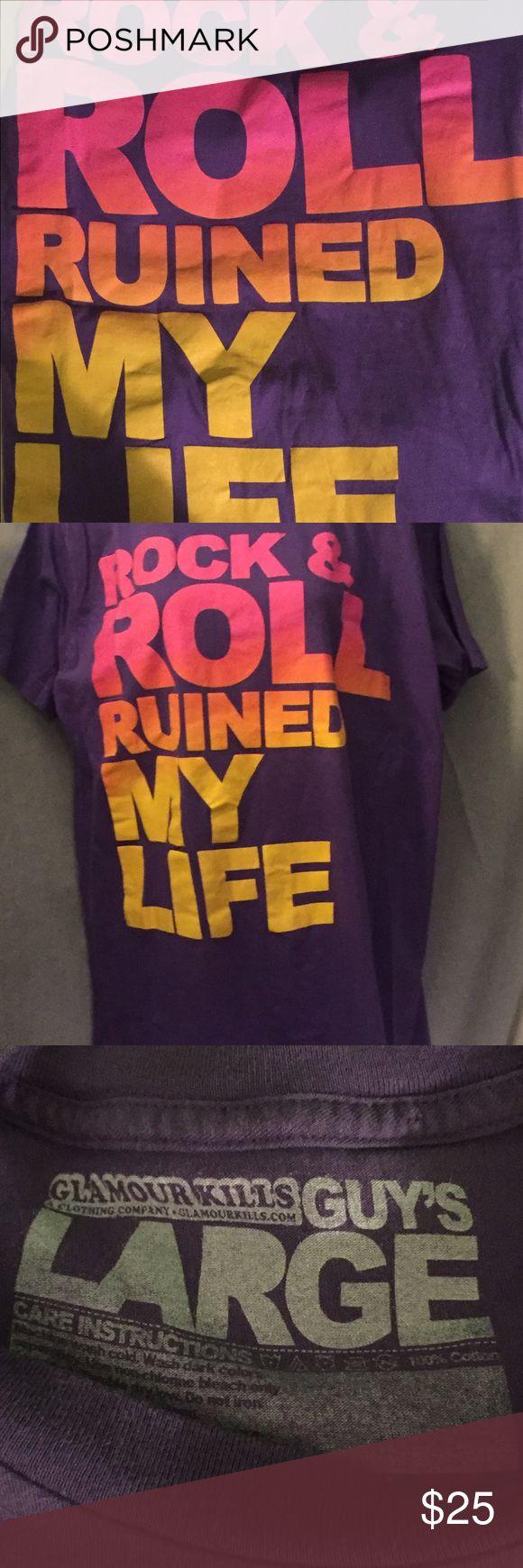 Men's glamour kills tee Rock n roll ruined my life purple tee Shirts Tees - Short Sleeve
