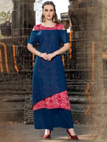 6da68d396f3 Vedic Red   Insignia Blue Double Layered Cotton Kurti -