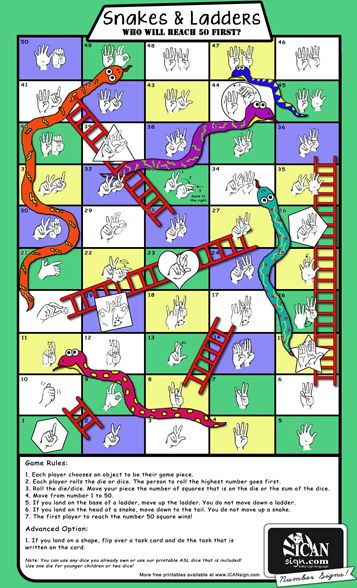 ASL Snakes & Ladders printable game with American Sign Language numbers 1 to 50 and task cards to practice the ASL Colors