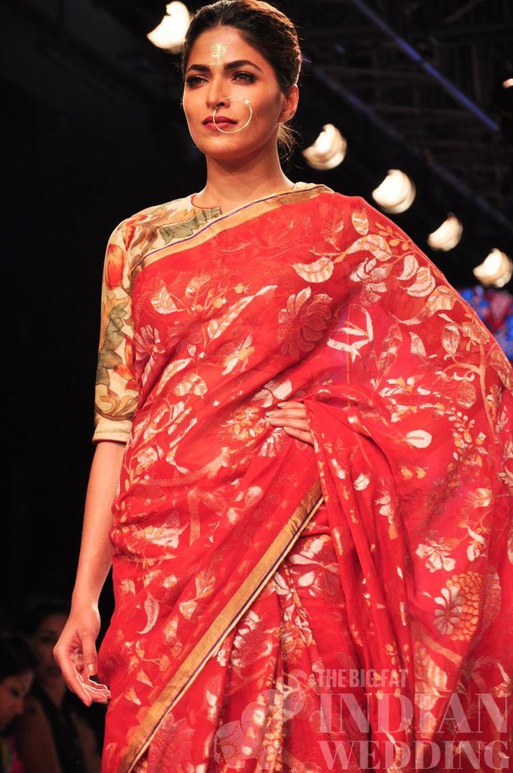 gaurang shah red sari with gold leafing