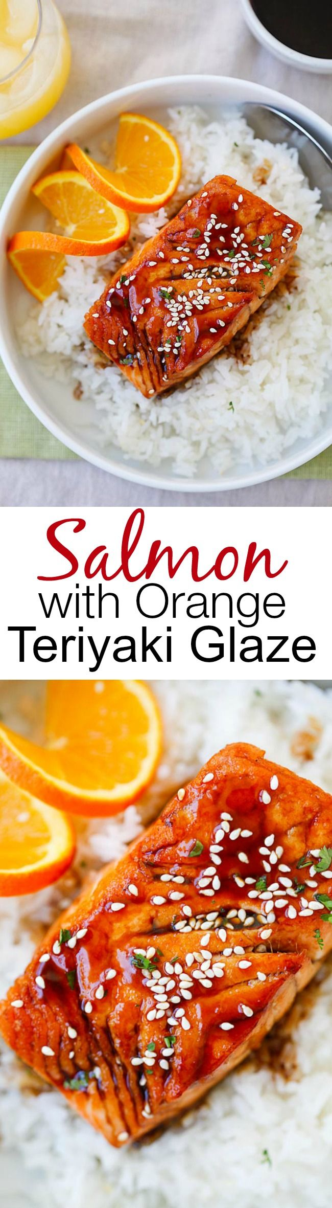 Salmon with Orange Teriyaki Glaze – the easiest & tastiest salmon you'll ever make. Delicious salmon with tangy, sweet & savory orange teriyaki sauce | rasamalaysia.com