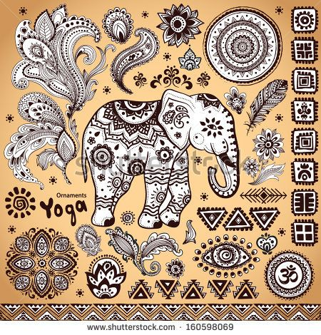 Set of ornamental Indian elements and symbols  by Transia Design, via Shutterstock