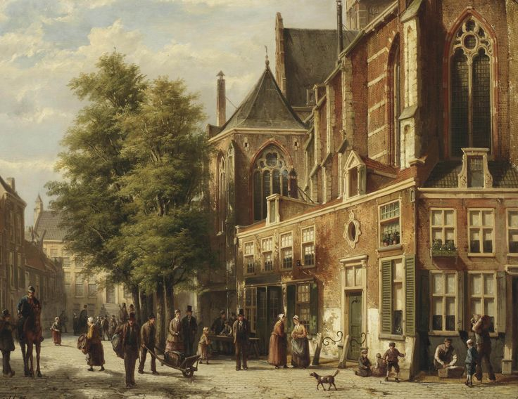 Willem_Koekkoek_-_Numerous_figures_in_a_sunlit_street_near_a_church.jpg (3200×2471)