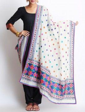White-Multi-Color Chanderi Phulkari Dupatta