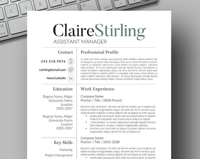 83 best Two Page CV Template - Word images on Pinterest Resume - resume templates for word 2007