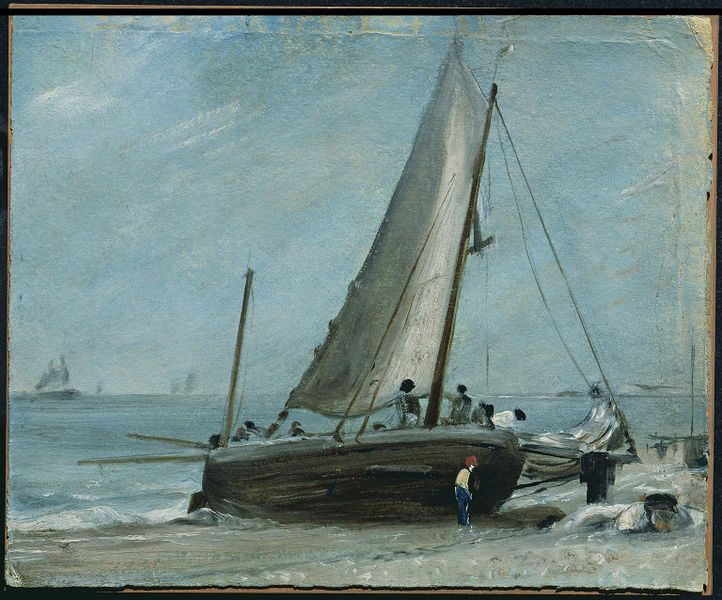 Brighton Beach, with Fishing Boat and Crew, John Constable, 1824