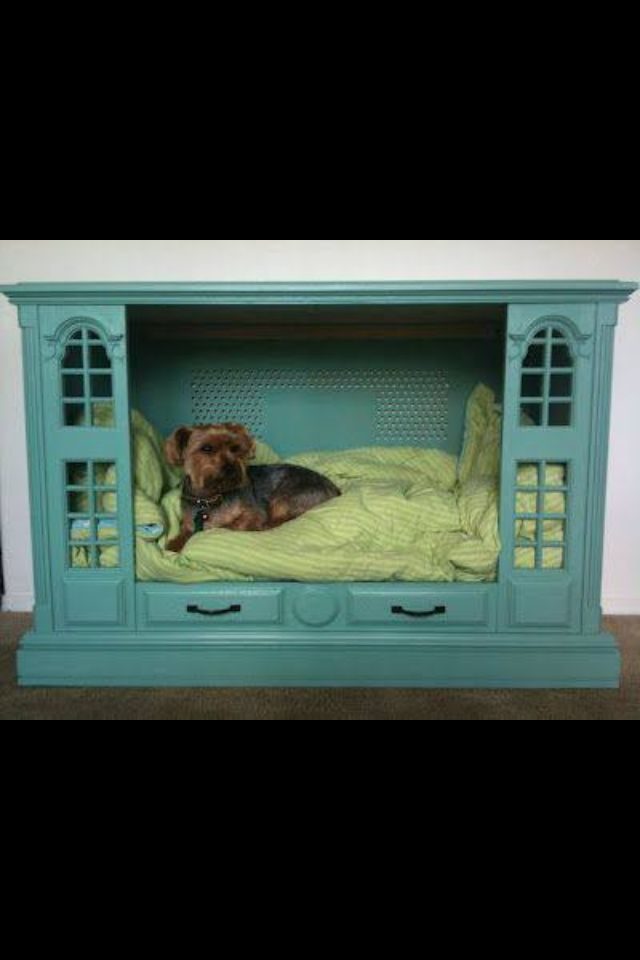Repurposed Ugly Old Cabinet Tv Into Cute Dog Bed
